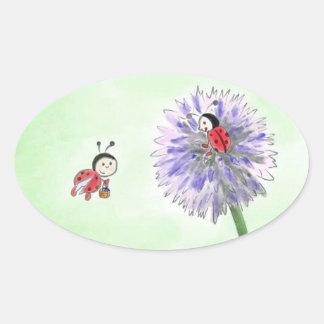 Adesivo Oval Joaninha flores autocolante cumprimento Oval