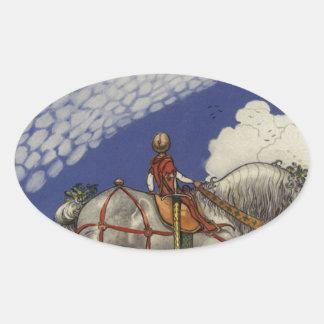 "Adesivo Oval John Bauer - ""no mundo largo """