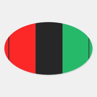 Adesivo Oval Kwanzaa colore o teste padrão verde preto vermelho