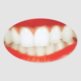 Adesivo Oval Lábios vermelhos