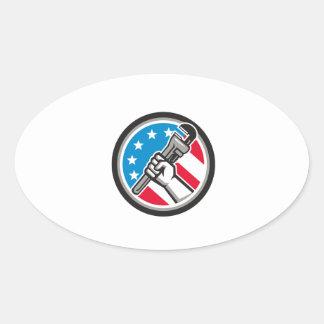 Adesivo Oval Lado Circ angular da bandeira dos EUA da chave de