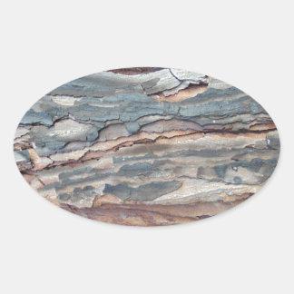 Adesivo Oval Latido carbonizado do pinho