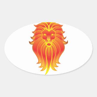 Adesivo Oval Leão customizável do zodíaco de Leo do fogo