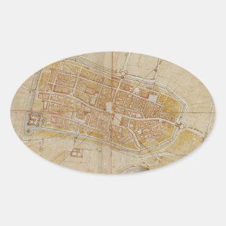 Adesivo Oval Leonardo da Vinci - plano da pintura de Imola