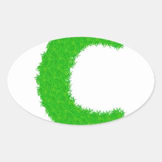 Adesivo Oval letra da grama