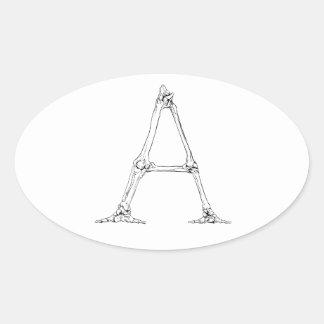 Adesivo Oval Letra do osso - A
