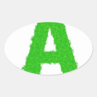 Adesivo Oval letras verdes