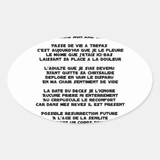 Adesivo Oval Levando o Luto da minha Infância - Poema