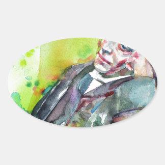 Adesivo Oval LEWIS CARROLL - aguarela portrait.2
