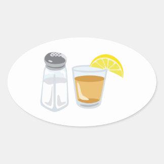 Adesivo Oval Limão de vidro do abanador de sal da bebida do