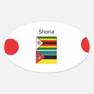 Adesivo Oval Língua de Shona e bandeiras de Zimbabwe e de