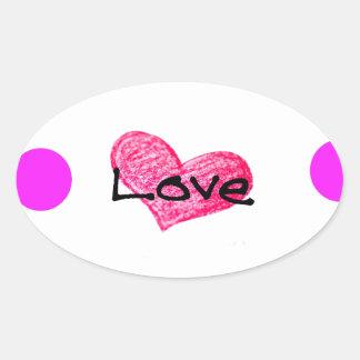 Adesivo Oval Língua inglesa do design do amor
