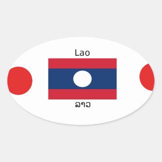 Adesivo Oval Língua (Laotian) do Lao e bandeira de Laos