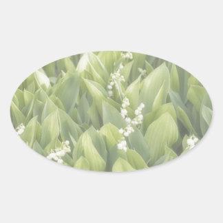 Adesivo Oval Lírio do remendo da flor do vale na névoa