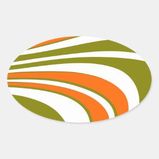 Adesivo Oval Listras curvy abstratas