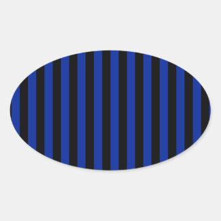 Adesivo Oval Listras finas - pretas e azul imperial
