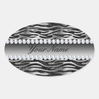 Adesivo Oval Listras pretas da zebra da folha do falso na prata
