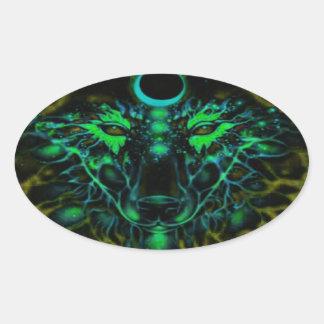 Adesivo Oval Lobo amarelo de néon Mythical