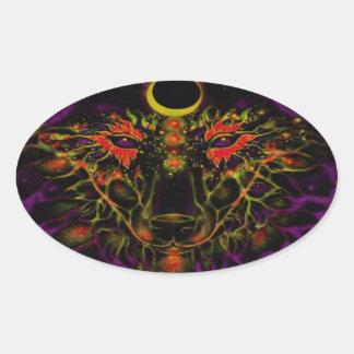 Adesivo Oval Lobo roxo de néon Mythical