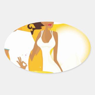 Adesivo Oval Lua de mel do verão