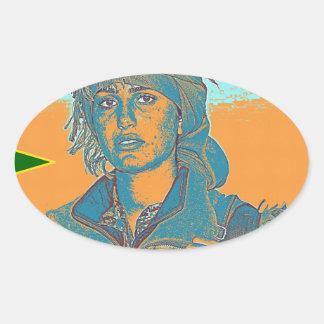 Adesivo Oval Lutador curdo 6 de YPJ