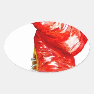 Adesivo Oval Luva de encaixotamento vermelha
