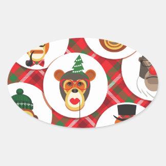 Adesivo Oval macacos do hipster do Natal