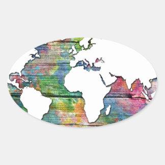 Adesivo Oval madeira 12 do mapa do mundo