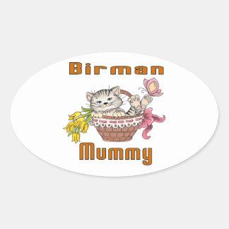 Adesivo Oval Mamã do gato de Birman