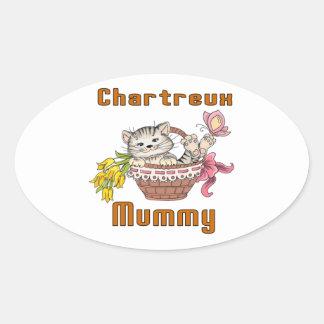 Adesivo Oval Mamã do gato de Chartreux