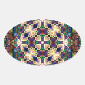 Adesivo Oval Mandala celta do vitral do coração do arco-íris