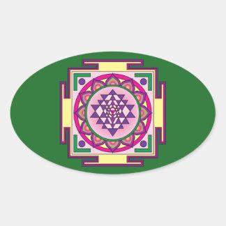 Adesivo Oval Mandala de Sri Yantra