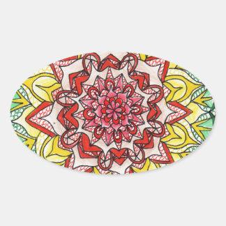 Adesivo Oval Mandala do arco-íris