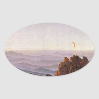 Adesivo Oval Manhã em Riesengebirge - Caspar David Friedrich
