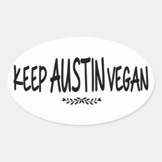 Adesivo Oval Mantenha o Vegan de Austin