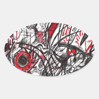 Adesivo Oval Mãos do desenho da caneta da raiva