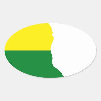 Adesivo Oval Mapa da bandeira de Delaware LGBT