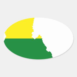Adesivo Oval Mapa da bandeira de Idaho LGBT