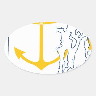 Adesivo Oval Mapa de Rhode - ilha da bandeira