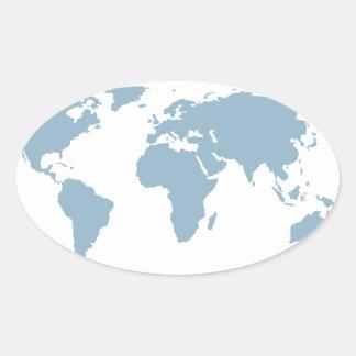 Adesivo Oval Mapa do mundo