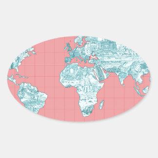 Adesivo Oval mapa do mundo 7