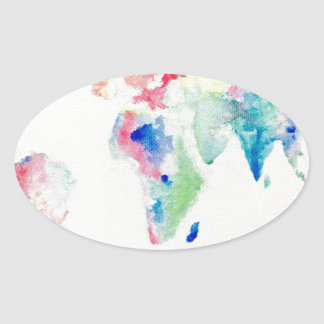 Adesivo Oval mapa do mundo da cor de água