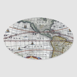 Adesivo Oval mapa velho Americas