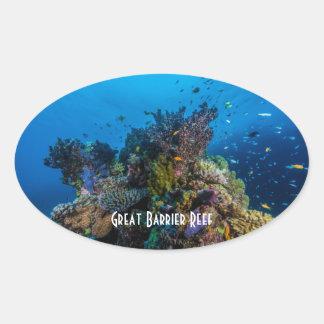 Adesivo Oval Mar coral recife de coral tropical dos peixes do
