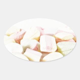 Adesivo Oval Marshmallows dos doces