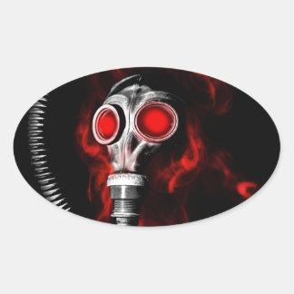 Adesivo Oval Máscara de gás