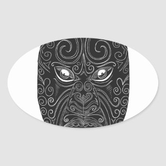 Adesivo Oval Máscara maori Scratchboard
