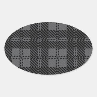 Adesivo Oval Material cinzento de lãs do Tartan da verificação