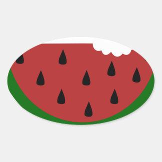 Adesivo Oval melancia mordida fruta da fatia da comida