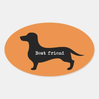 Adesivo Oval Melhor amigo bonito da silhueta do dachshund